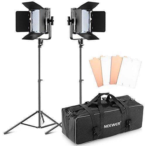 Bestlight Kit di Doppia Luce LED Continua con Barndoor Dimmerabile a Potenza Ultra Alta 600 (Singolo Barndoor)