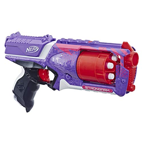 Nerf Elite Strongarm violet et rouge et Flechettes Nerf Elite Officielles - Exclusivité Amazon