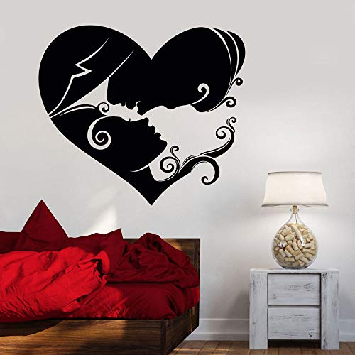 JXLK Resumen Pareja Amor corazón Pared calcomanía Vinilo Amoroso Pareja Dormitorio Matrimonio habitación Etiqueta de la Pared extraíble Arte decoración Mural 42x46 cm