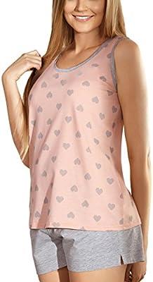 Babella 3039 Pijama De Dos Piezas Para Mujeres Camiseta Sin Mangas Y Pantalón Corto Con Estampado De Corazones - Hecho En La UE