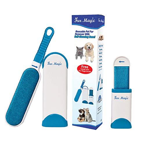 emover Fusselbürste mit selbstreinigender Basis, verbesserter Griff, doppelseitige Fellbürste mit Reisegröße, für Hunde und Katzen ()