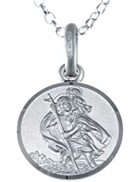 "Children's Small Reversible Sterling Silver St Christopher Necklace Pendant with 16"" Chain & Jewellery Gift Box - Ideal gift for Christening or Holy Communion"