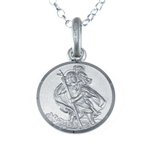 """Children's Small Reversible Sterling Silver St Christopher Necklace Pendant with 16"""" Chain & Jewellery Gift Box - Ideal gift for Christening or Holy Communion Test"""