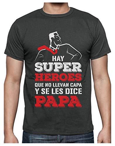 Camiseta para Hombre - Regalos para Hombre, Regalos para Padres Originales, Regalo Padre Divertido - Mi Papá es mi Súper Héroe - X-Large Gris Antracita