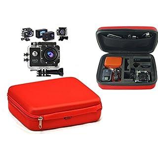 Navitech Rot Tragetasche für ACCFLY H9R Ultra 2.0 Inch 170 Degree 12MP Waterproof WiFi Sport Camera