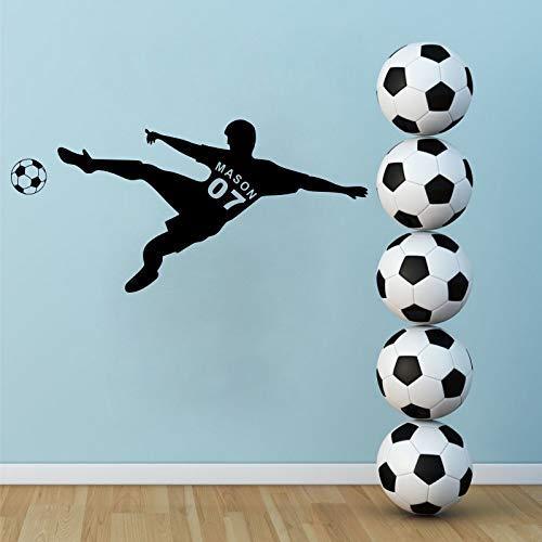 yiyiyaya Angepasst alle Jungen Name und Nummer Fußball Spieler Vinyl Wandtattoo Aufkleber für Kinderzimmer Dekoration33 * 70 cm (Für Fußball-spieler Halloween)