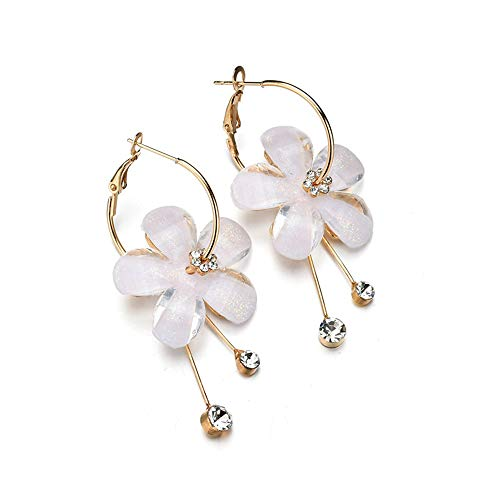 BURFLY Super Fee Blumenohrringe, Neue 6 Petal Acryl Zirkon Quaste Ohrringe Transparente Ohrringe Frauen Ohrringe (White)