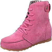 JiaMeng Botas de Goma Mujer Impermeable Lluvia Zapatos Botas de Nieve de Bota Plana con Cordones