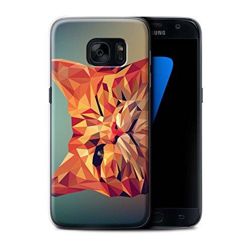Stuff4® Hülle/Case für Samsung Galaxy S7/G930 / Rote Katze Muster/Geometrisches Tier Tierwelt Kollektion