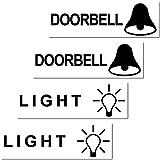 GreenIT 4 Stück Aufkleber Sticker Englische Version Light Doorbell Licht Klingel Briefkasten Schalter Haustür