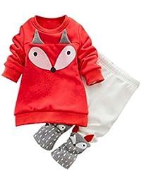 2PCS Bébés Garçons Filles Renard Tops à manches longues  Sweat-shirt+Pantalons Longra Ensemble de vêtements Doux Chaud en Coton  Veste… 082da819fb2