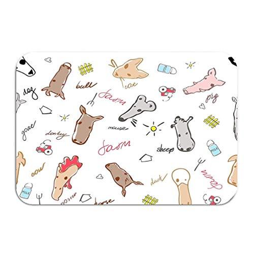 Carpet Rug Door mat Seamless Pattern Farm Animals Made Cartoon Style Bull Cow Mouse Pig Sheep Horse Goat Duck Little 16 * 24 inch -