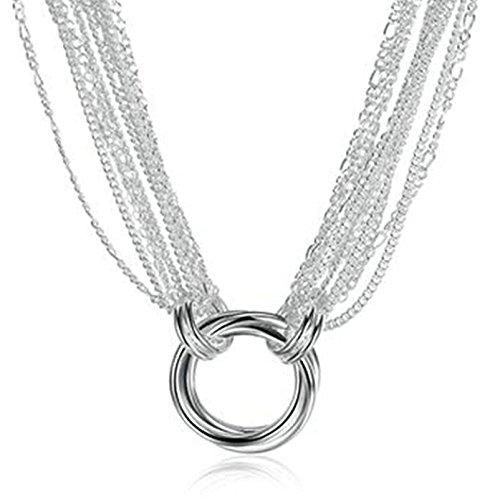 amdxd Jewelry Silber vergoldet Anhänger Ketten für Frauen Silber Rond Form Anhänger -