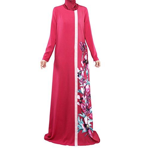 Highdas femmes musulmanes manches longues robe impression numérique multicolore multi-codes abaya robe Rouge