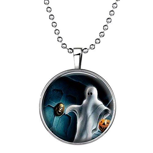 YC Top Design originale Halloween fantasma luminoso ciondolo collana