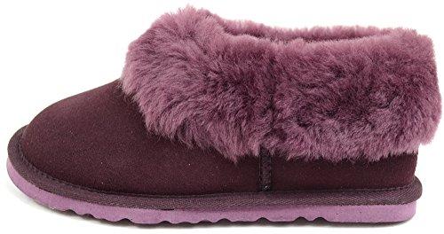 Chaussons pour femme avec peau de mouton épaisse de manchette & léger Flexible Semelle rigide Par Bushga Prune vison (Marron) Violet - Prune