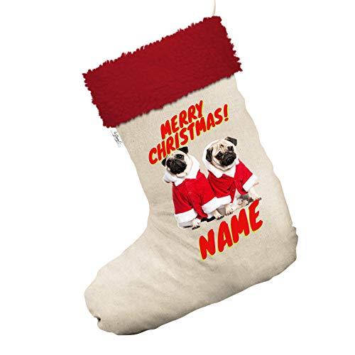 Für Kostüm Möpse - personalisierbar Santa Kostüm Möpse Jumbo weiß Weihnachten Strümpfe Socken mit rotem Rand