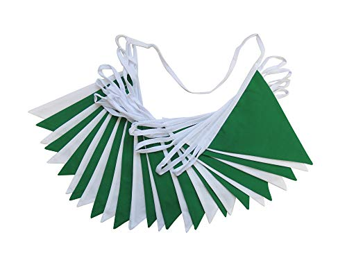 10m Green and White Double Sided Bunting - St Patrick's Day Bunting