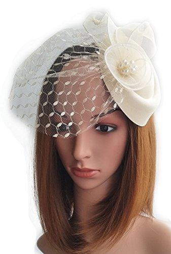 Frauen Fascinator Blumen Ohr Hut Mesh Schleier Pillbox Wolle Filz Haar Clip (Beige) (Paare Kostüme Diy)