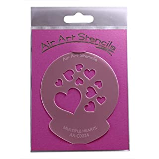Valentines Mulitple Hearts Stencil - Reusable Flexible Food Grade Plastic Stencil for Cake and Craft Design, Airbrushing and more