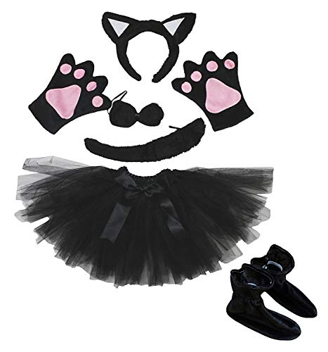 Katze Stirnband Schleife Schwanz Handschuh Schuhe Schwarz Tutu 6Mädchen Kostüm Kleid für Party