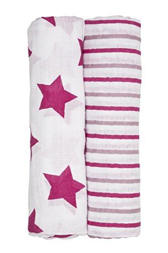 Lässig Stripes Girls Swaddle und Burp Blanket Puckdecke/Spuckdecke 100% Baumwolle Mulltuch weich kuschelig, 120 x 120 cm, 2er Set