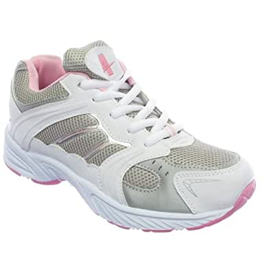 Womens Pink White Gym Running Trainers Shoes Size 6