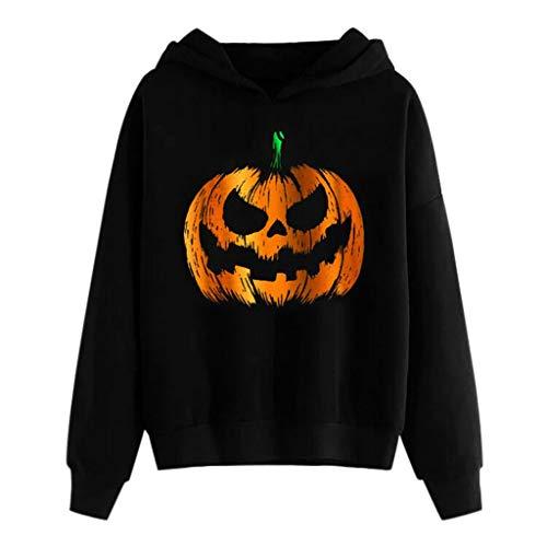GOKOMO Pullover Bluse Damen Halloween Pumpkin Print Langarm Sweatshirt mit Kapuze(Schwarz-f,Medium)