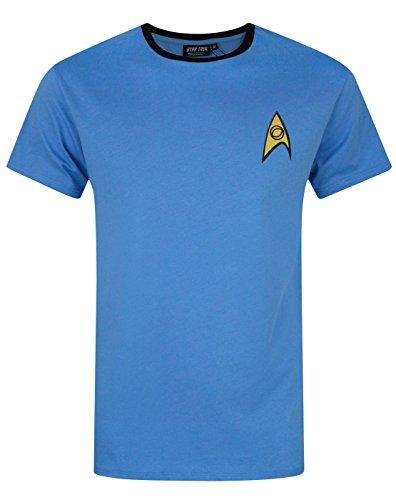Star Trek - Herren T-Shirt - Uniform von Spock, Scotty, Captain Kirk - Offizielles Merchandise - Geschenk - Blau - XL