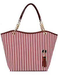 Premium Vertical Striped Tote Bag With Tassel Detail