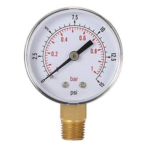 koowaa TS-50-15psi 0-15 psi 0-1 bar BSPT Druckmessgerät, Kraftstofföl-Luft-Kompressor-Messgerät, Hydraulik-Tester, Manometer -