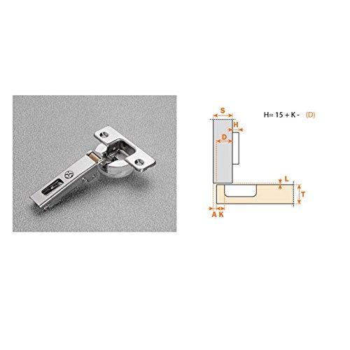 Bisagra Recta decelerante 'cierre amortiguado' de cazoleta Ø35 mm. Apertura 110º. Salice incluye su base