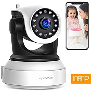 【NEW VERSION】APEMAN 1080P WiFi Camera Home Security Surveillance Indoor Camera CCTV Wireless IP Camera with Night Vision Baby Pet Remote Monitor Motion Detection Two Way Audio Pan/Tilt/Zoom
