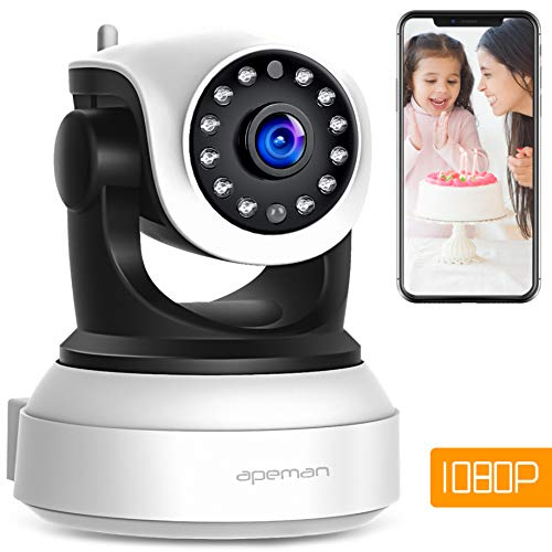 【Neue Version】Apeman 1080P WLAN Kamera IP Kamera WiFi Überwachungskamera mit Nachtsicht, Bewegungserkennung,2 Wege Audio,Smart Home Kamera,schwenkbar und unterstützt Mikro-SD KarteProduct