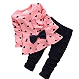 Koly® Newborn Baby Clothing Sets Long-Sleeved Heart-shaped Print Bow Cute 2PCS Kids Set T shirt + Pants + Hairband