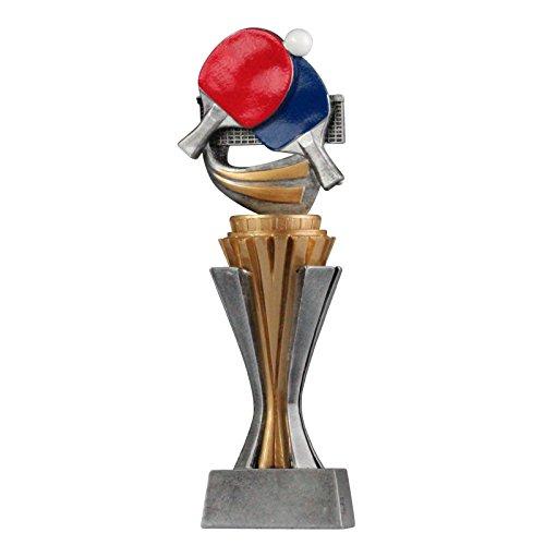 pokalspezialist Pokal Trophäe Tischtennis mit Sockel in Gold/Silber ca. 21 cm hoch Größe L