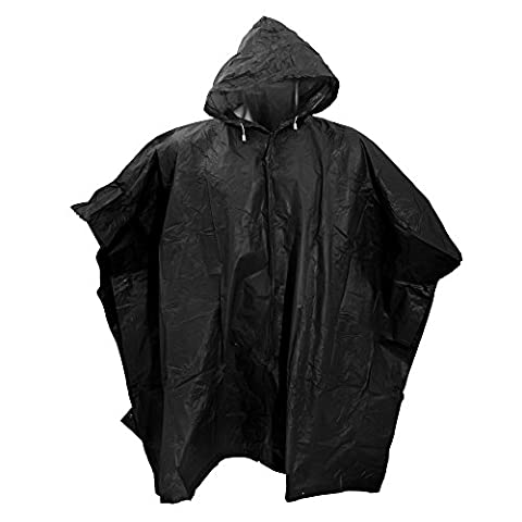 Splashmacs Unisex Lightweight Rain Poncho (ONE) (Black)