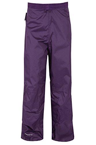 Mountain Warehouse Spray wasserdichte Kinderhose Überhose Regenhose leicht Camping Outdoor unisex jungen mädchen Violett 140 (9-10 Jahre)