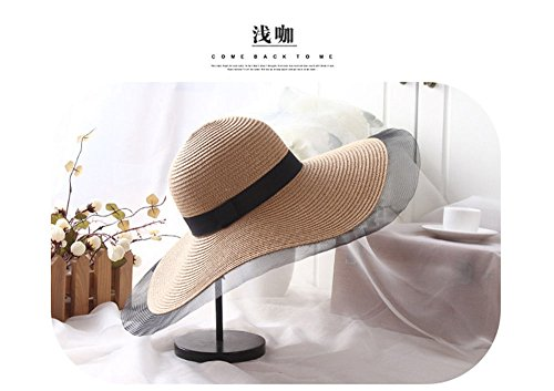 YXLMZ Meine Damen Frauen Hüte Sunscreen Outdoor W hat Visor Fashion Garn Grid Grenze Strohhut Sommer Sonne hat Licht/verstellbar (56-58 cm). (Große Canvas-grenze)