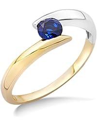 Miore Damen-Ring 9 Karat (375) Bicolor Saphir blau MH9071R