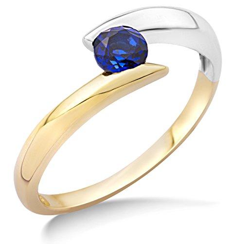 Miore Ring Damen Bicolor Gelbgold / Weißgold 9 Karat / 375 Gold Solitär  Blauer Saphir