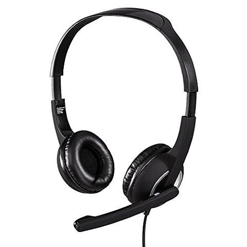 Hama PC Headset Essential HS 300 mit Mikrofon (ultra leicht, On-Ear, gepolsterte Ohrmuscheln, Stereo, Lautstärkeregler am Kabel, 2 m Kabellänge, 3,5 mm Klinke)