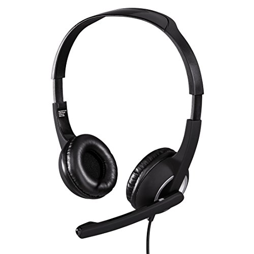 Hama PC Headset Essential HS 300 mit Mikrofon (ultra leicht, On-Ear, gepolsterte Ohrmuscheln, Stereo, Lautstärkeregler am Kabel, 2 m Kabellänge, 3,5 mm Klinke) schwarz