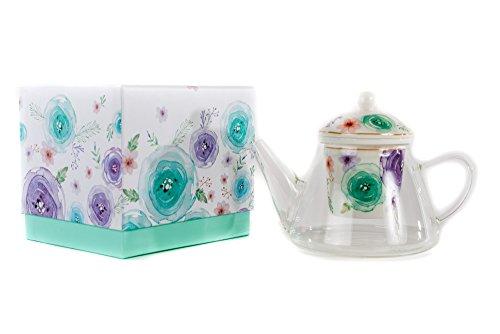 Teiera in vetro fiori moderni - 700cc con scatola regalo