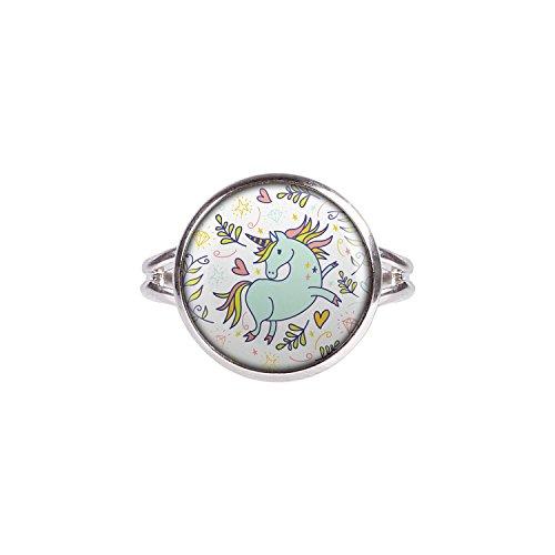 Mylery Ring mit Motiv Einhorn Herzen Sterne Weiß -