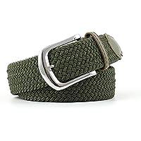 TINERS Lienzo Tejido Cinturón Hombres Y Mujeres Informal Salvaje Tejido Elástico Tejido Elástico Pin Hebilla Cinturón,Armygreen
