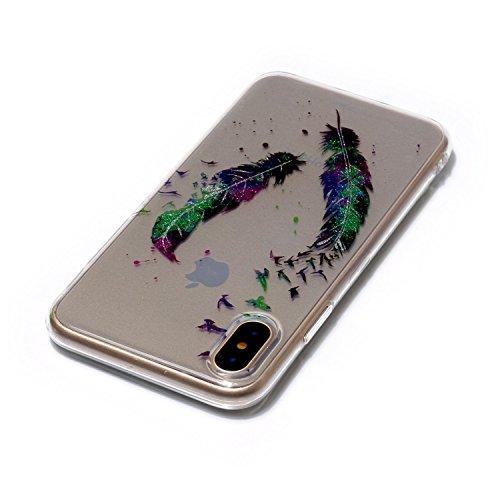 iPhone X Hülle, iPhone X Handyhülle, MSK® HandyTasche Back cover TPU Silikon Schutzhülle Telefonkasten Protective Tasche Für iPhone X - Donuts Gefieder