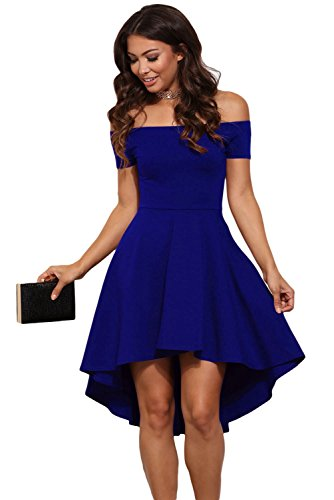 Mini abito cerimonia da donna vestito damigella elegante scollo barchetta festa party-blue-s