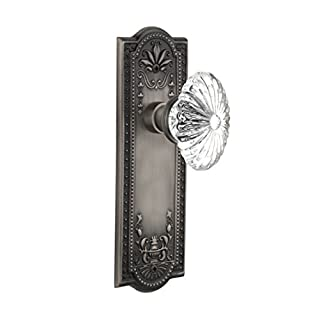 Nostalgic Warehouse Meadows Plate with Oval Fluted Crystal Glass Knob, Double Dummy, Antique Pewter