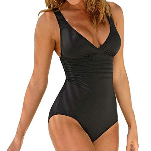 KUDICO Damen Bademode Einteiler Push Up Badeanzug Sommer Solide Rüschen Beachwear Bikini Tankini(Schwarz, EU-42/CN-2XL)